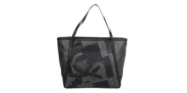 Dámska šedo-čierna kabelka so vzorom United Colors of Benetton