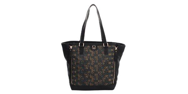 Dámska čierna kabelka s nápismi United Colors of Benetton