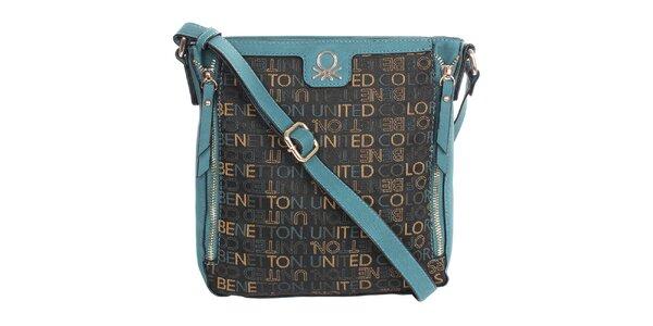 Dámska kabelka s nápismi a modrými prvkami United Colors of Benetton