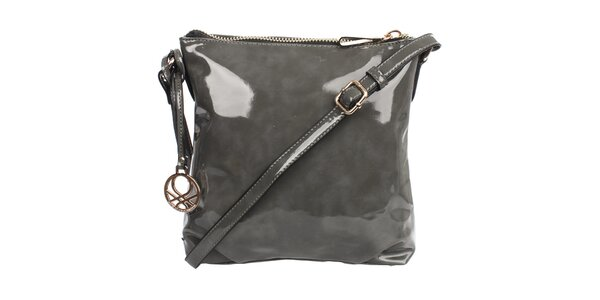 Dámska lesklá kabelka v sivej farbe United Colors of Benetton