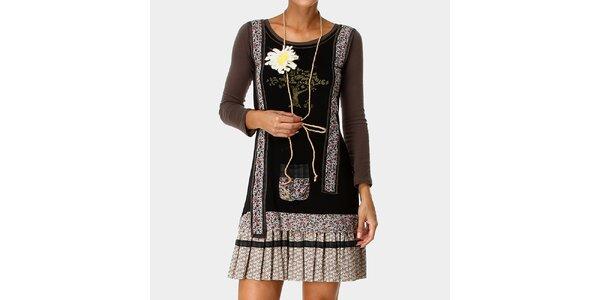 Dámske šaty so vzorovanou skladanou sukňou Ian Mosh