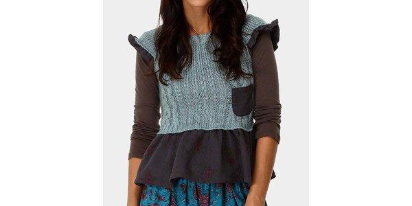 Dámsky top a svetlo modrý svetrík s ozdobným volánom Ian Mosh