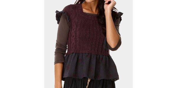 Dámsky top a fialový svetrík s ozdobným volánom Ian Mosh