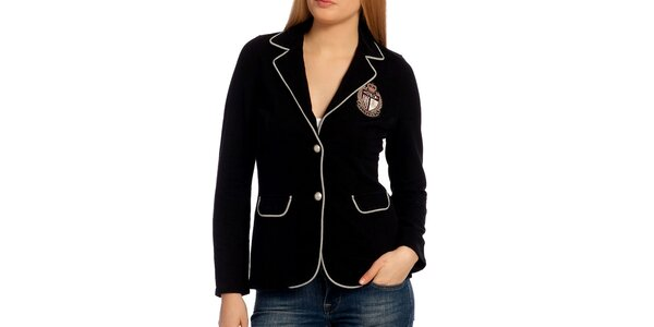 Dámske čierne sako s výšivkou Galvanni