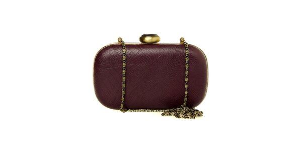 Dámska tmavo fialová kabelka Luna Llena so zlatou retiazkou