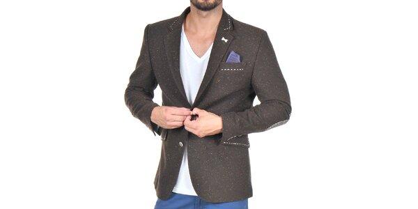Pánske tmavo hnedé sako s modrou podšívkou Giorgio di Mare