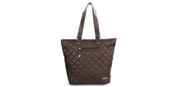 Dámska čokoládová prešívaná textilná kabelka Kangol