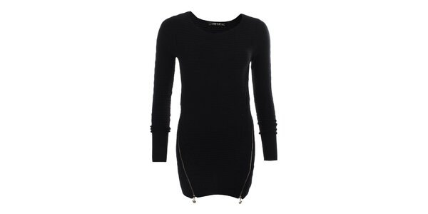 Dámsky čierny sveter so zipsami JOYX