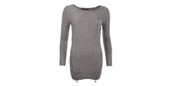 Dámsky hnedý sveter so zipsami JOYX