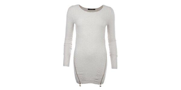 Dámsky krémovo biely sveter so zipsami JOYX