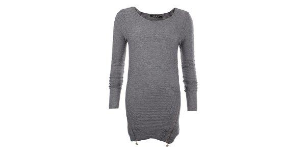 Dámsky šedý sveter so zipsami JOYX