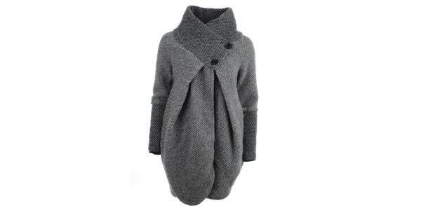 Dámsky šedý sveter s límcom Euro Fashion
