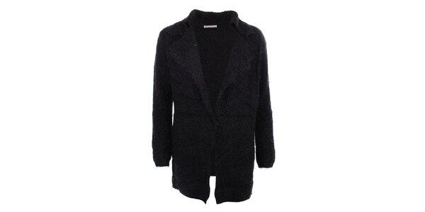 Dámsky dlhší čierny sveter s vreckami For Ever