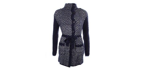 Dámsky modrý vzorovaný sveter s gombíkmi a zaväzovaním v páse MISS @ MAX
