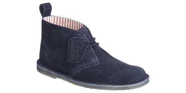 Dámske tmavo modré menčestrové kotníkové topánky Clarks