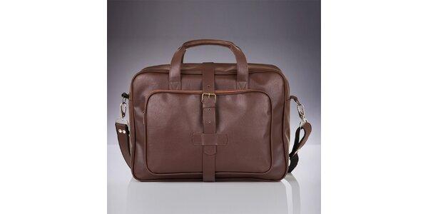 Pánska hnedá taška s vonkajšími vreckami Solier