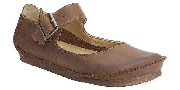 227cdf04433f Dámske hnedé kožené topánky Clarks s pásikom