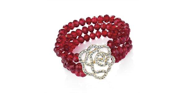 Dámsky červený náramok s kvetinou Carmen Luna