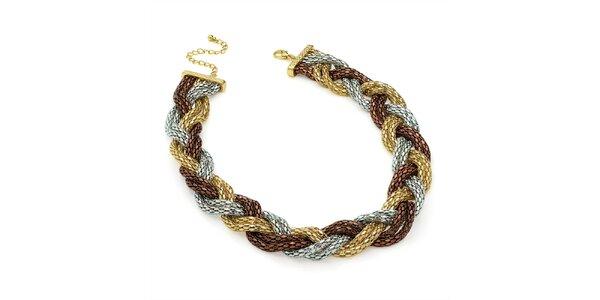 Dámsky trojfarebný prepletaný náhrdelník Carmen Luna