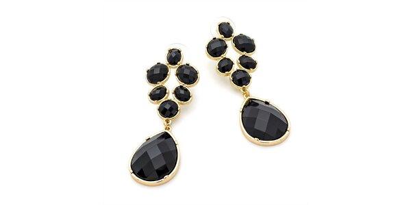 Dámske visiace náušnice s čiernymi kryštálikmi Carmen Luna