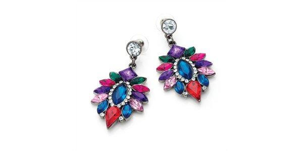Dámske náušnice z farebných kryštálikov Carmen Luna