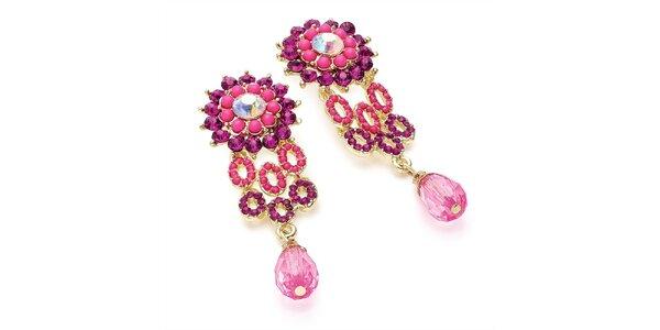 Dámske náušnice s fuchsiovými kryštálikmi Carmen Luna