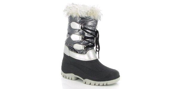 Dámske šedé zimné topánky s kožúškom E2ko