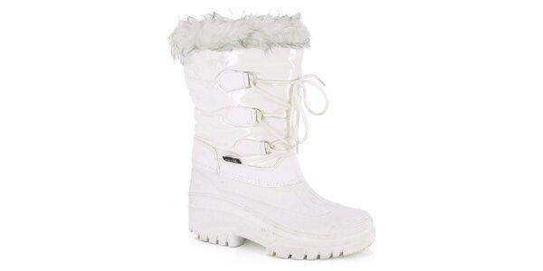 Dámske biele zimné topánky s kožúškom E2ko