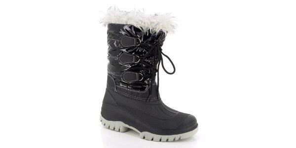 Dámske čierne zimné topánky s kožúškom E2ko