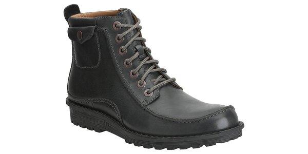 Pánske čierne kožené kotníkové topánky Clarks