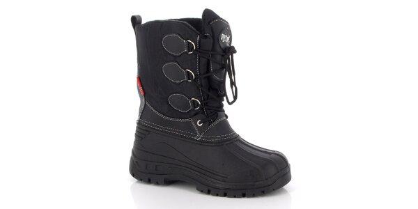 Dámske čierne zimné topánky so šnurovaním E2ko