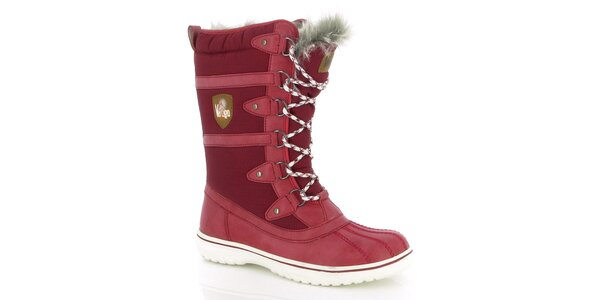 Dámske červené zimné topánky s kožúškom E2ko