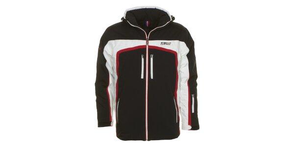 Pánska čierna bunda s bielymi a červenými detailmi E2ko
