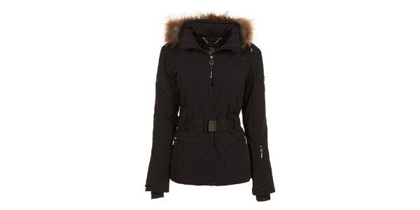 Dámska čierna bunda s opaskom a kožúškom E2ko