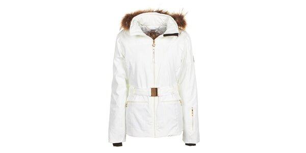 Dámska biela bunda s opaskom a kožúškom E2ko