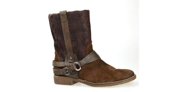 Dámske hnedé topánky s plastickým vzorom Bullboxer