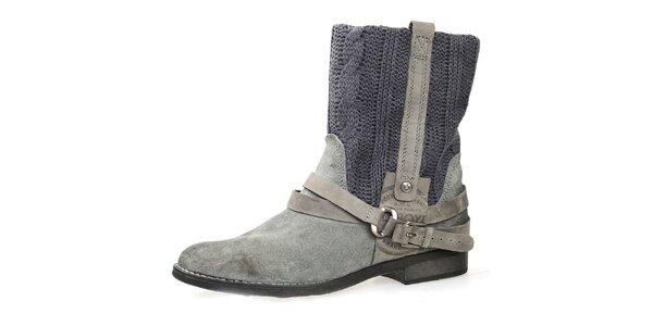 Dámske šedé topánky s plastickým vzorom Bullboxer