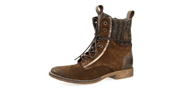 Dámske hnedé šnúrovacie topánky Bullboxer