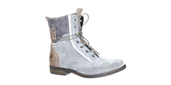 Dámske šedé členkové topánky so šnurovaním Bullboxer