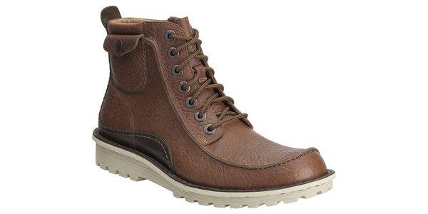 Pánske hnedé kožené kotníkové topánky Clarks