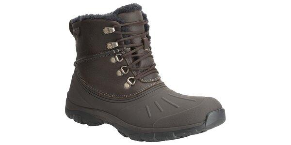 Pánske tmavo hnedé zimné trekové topánky Clarks s kožúškom