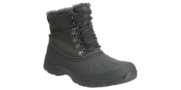 Pánske čierne zimné trekové topánky Clarks s kožúškom