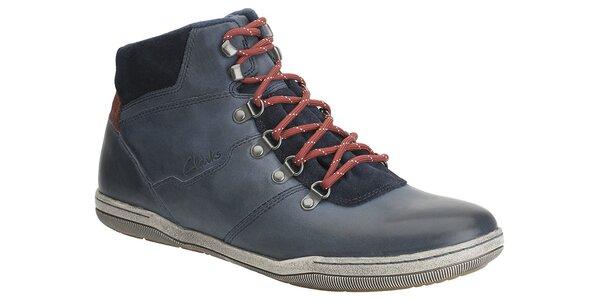 Pánske tmavo modré kotníkové topánky Clarks