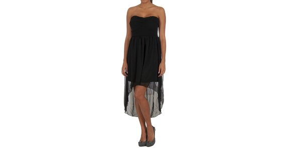 Dámske čierne šaty s transparentnou sukňou Vila Clothes