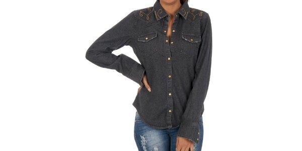 Dámska čierna košeľa s dekoratívnou aplikáciou Vila Clothes