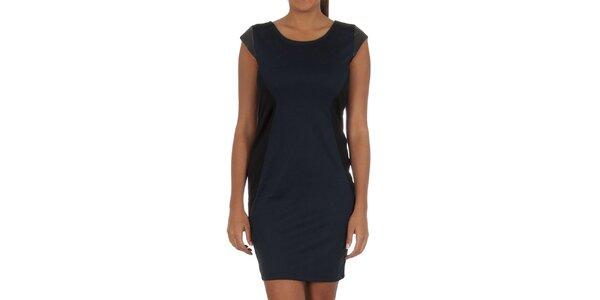 Dámske tmavo modré šaty s čiernymi prvkami Vila Clothes