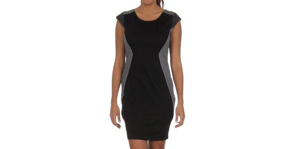 Dámske čierne šaty so šedými prvkami Vila Clothes