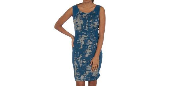 Dámske modré šaty so vzorom Vila Clothes