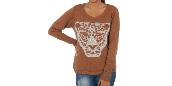 Dámsky hnedý sveter s leopardom Vila Clothes