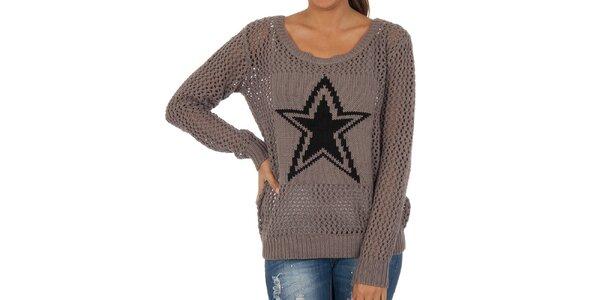 Dámsky šedý perforovaný sveter s hviezdou Vila Clothes